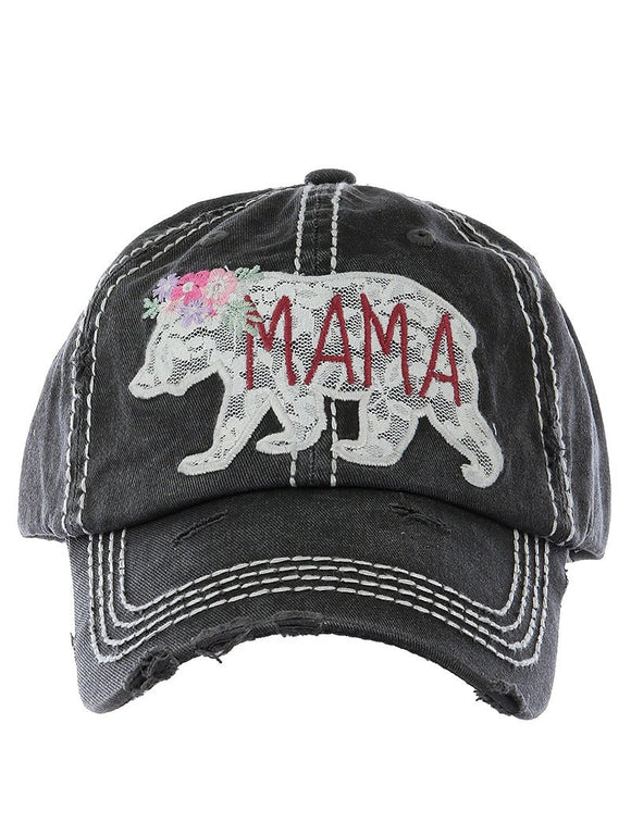 Embroidered Lace Mama Bear Cap - Black