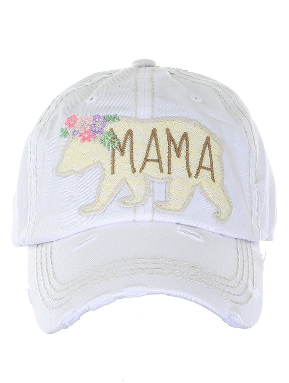 Embroidered Lace Mama Bear Cap - Ivory