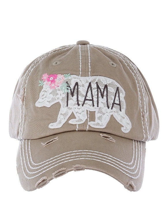 Embroidered Lace Mama Bear Cap - Khaki