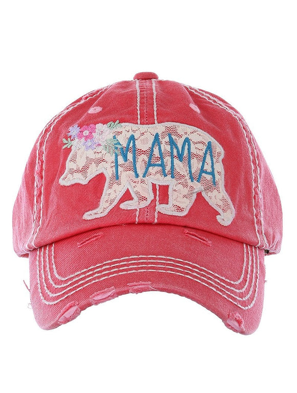 Embroidered Lace Mama Bear Cap - Red