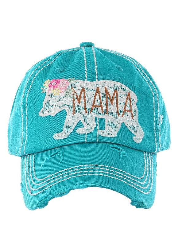 Embroidered Lace Mama Bear Cap - Turquoise