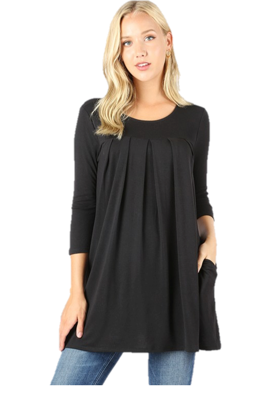 Pleated Tunic With Pockets in Black
