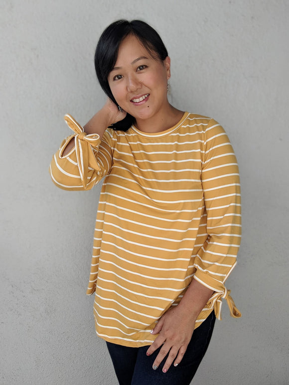 Ribbon Long Sleeves Top - Mustard & White Stripes