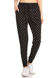 Soft Joggers - Black & White Polka Dot