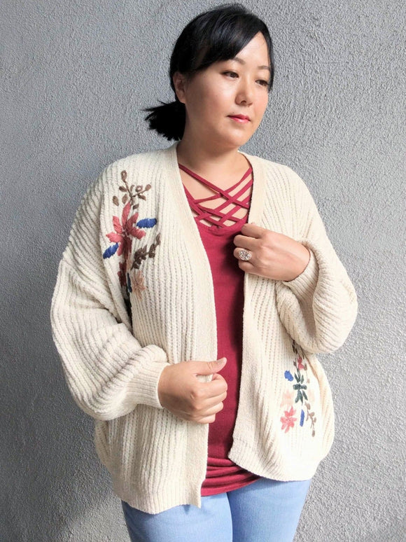 Walking On Clouds Floral Cardigan - Cream