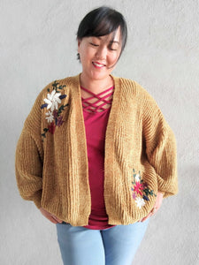 Walking On Clouds Floral Cardigan - Mustard