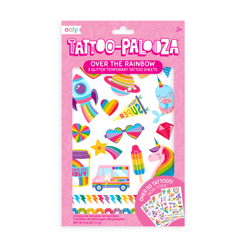 ooly Tattoo-Palooza Temporary Glitter Tattoos: Over the Rainbow