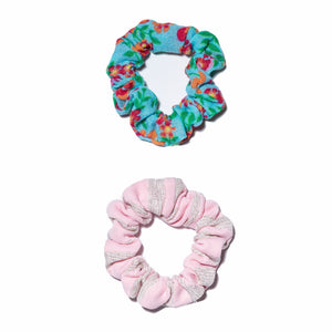 Solid & Striped x Lele Sadoughi Pink Zebra/Ditsy Floral Scrunchie Set