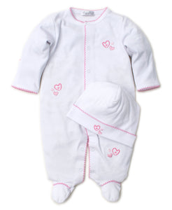 kissy kissy White with Pink Heart Footie & Hat Set
