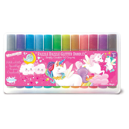The Piggy Story Unicorn Magic Glitter Doodle Gel Crayons