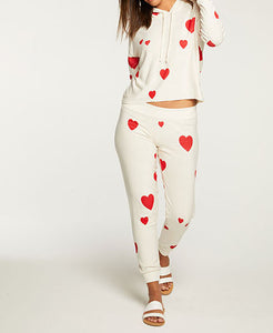 Chaser Cozy Knit Heart Cream Hoodie & Jogger Set