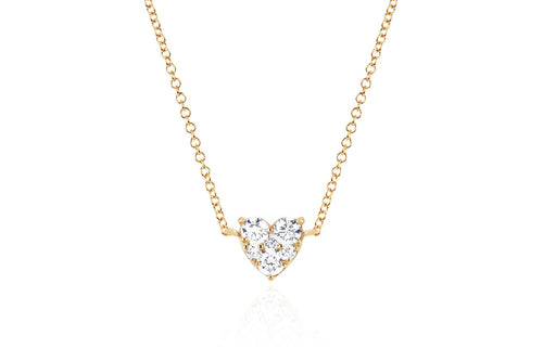 EF Collection Full Cut Diamond Heart Choker Rose Gold Necklace