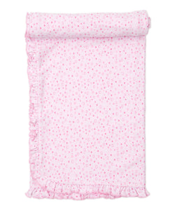 kissy kissy Diagonal Ruffle Pink Hearts Swaddle Blanket