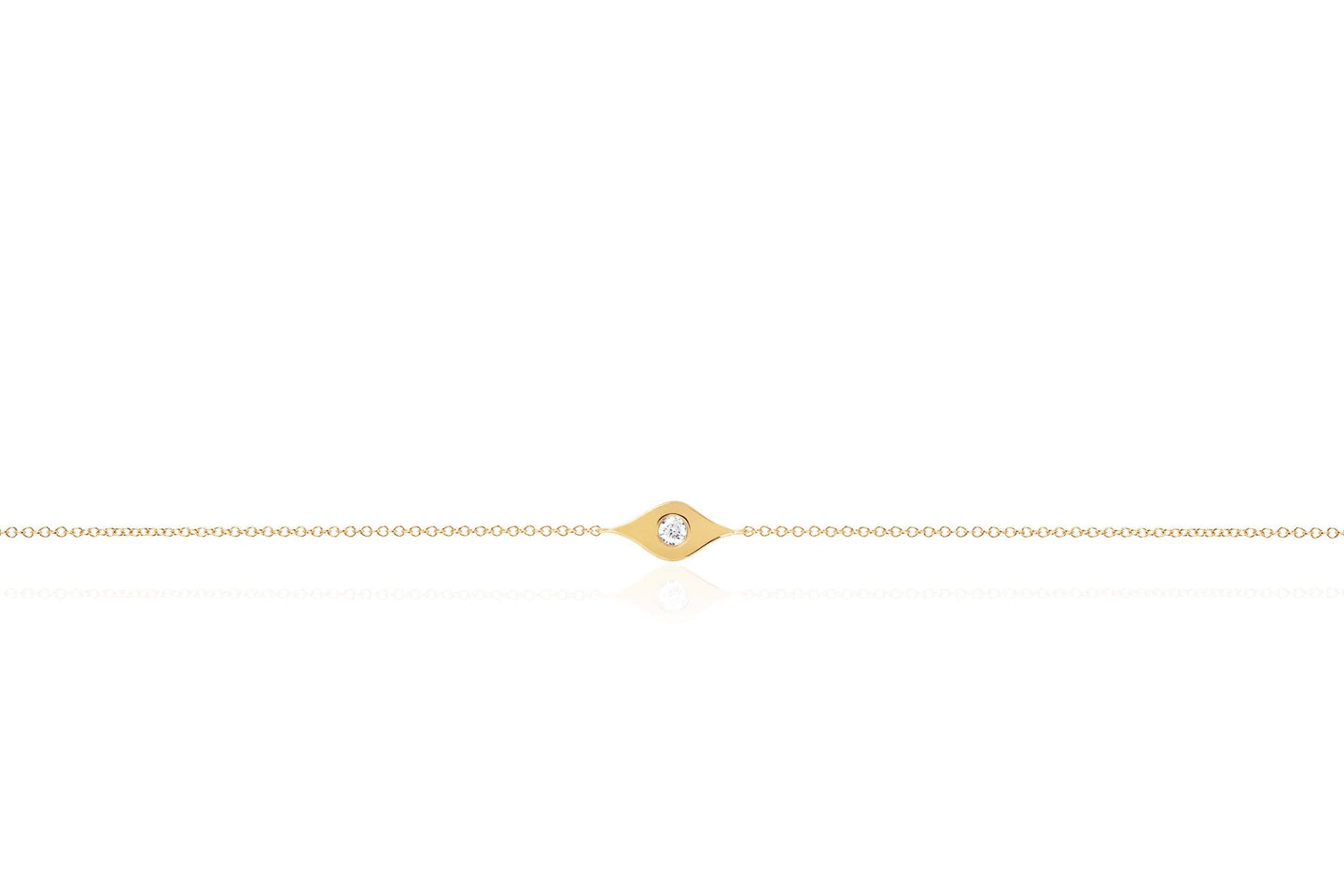 EF Collection Gold & Diamond Evil Eye Yellow Gold Bracelet