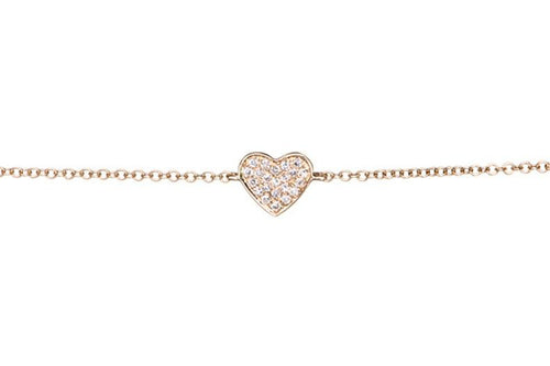 EF Collection Diamond Heart Yellow Gold Bracelet