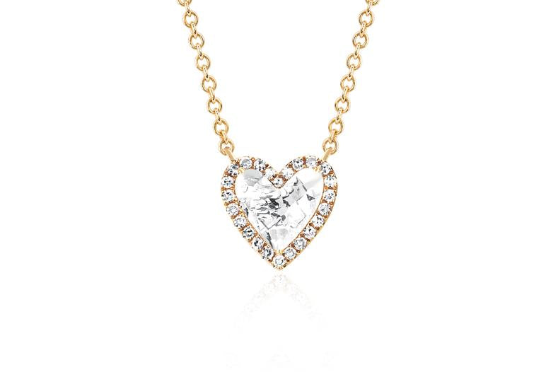 EF Collection Diamond & White Topaz Heart Yellow Gold Necklace