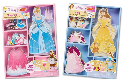 Melissa & Doug Disney Cinderella & Belle Magnetic Dress-Up Pretend Play Sets