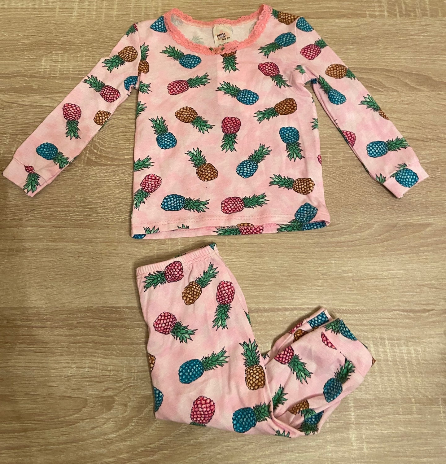 esme Pineapples Pink LS Pajama Set
