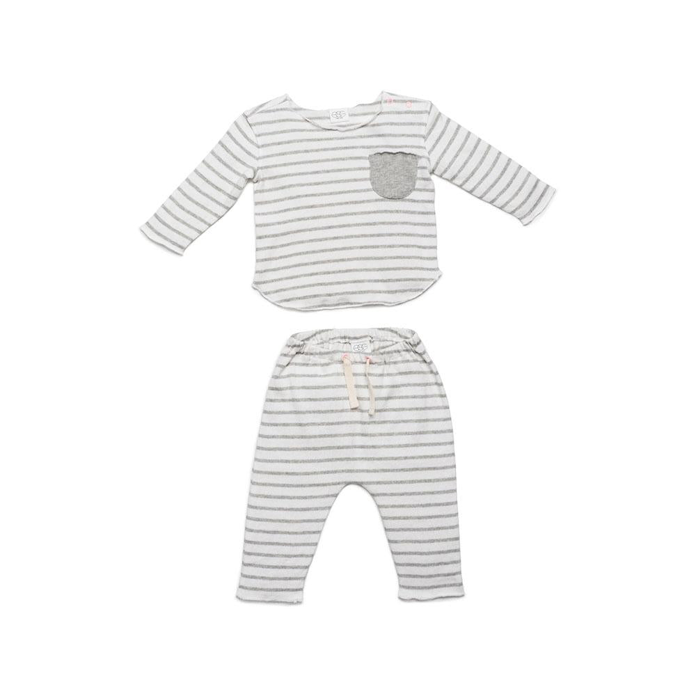 EGG New York Bobbi Grey Stripe Set