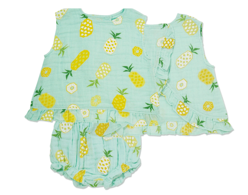 Angel Dear Pineapple Ruffle Back & Bloomer Set