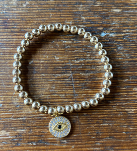 Alexa Leigh 5mm Gold Ball Bracelet with Crystal Evil Eye
