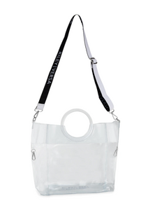 Riley Versa Clear Extrovert Tote with Black Leather Pouch and Removable Shoulder Strap