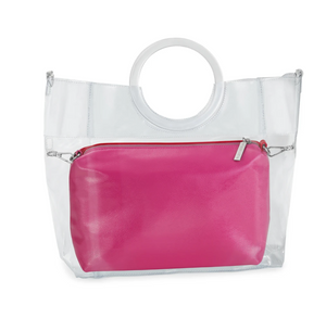 Riley Versa Clear Extrovert Tote with Pink & Red Leather Pouch and Removable Shoulder Strap