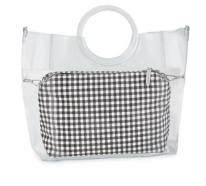 Riley Versa Clear Extrovert Tote with Black Gingham Pouch and Removable Shoulder Strap