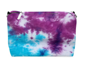 Riley Versa Clear Extrovert Tote with Tie Dye Blue/Purple Pouch and Removable Shoulder Strap