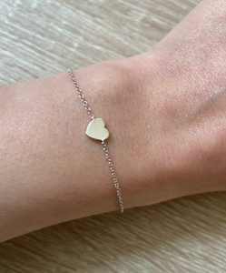 EF Collection White Gold Heart Bracelet
