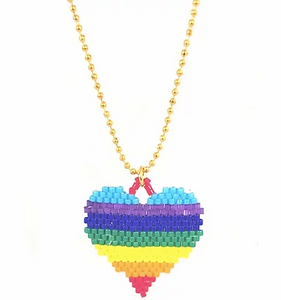 Bottleblond Beaded Rainbow Heart Necklace