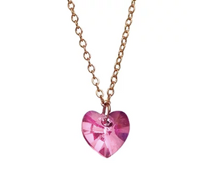 Bottleblond Swarovski Heart Light Pink Necklace