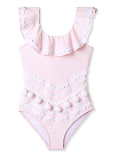 Stella Cove Perfect Pink Swimsuit with Ric Rac and White Pom Poms