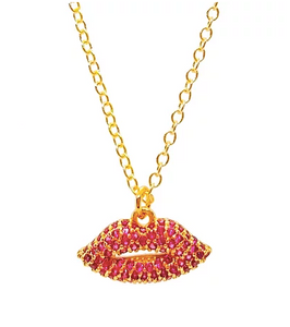 Bottleblond Pave Lips Necklace