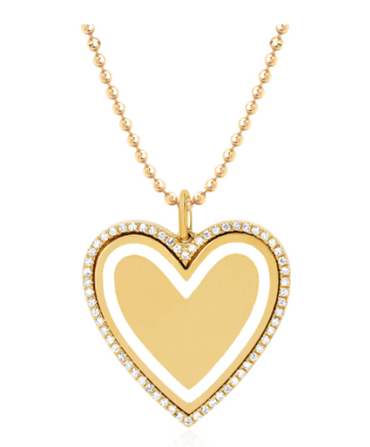 EF Collection Diamond & White Enamel Heart Yellow Gold Necklace