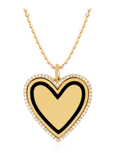 EF Collection Diamond & Black Enamel Heart Yellow Gold Necklace