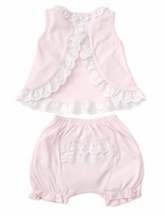 kissy kissy Elegant Eyelet Pink Sunsuit Set