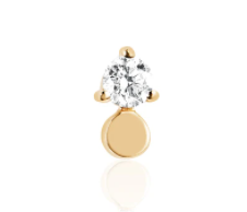 EF Collection Gold Disc with Prong Set Diamond Stud (1 unit)