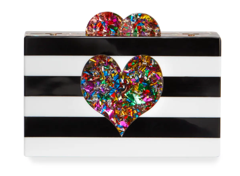 Bari Lynn Black Stripe Heart Metallic Clutch