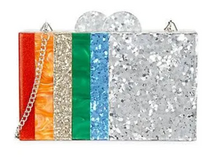 Bari Lynn Rainbow Stripe Metallic Clutch
