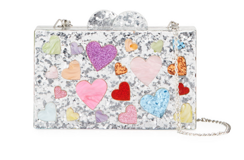 Bari Lynn Metallic Heart Clutch w/ Detachable Chain Strap