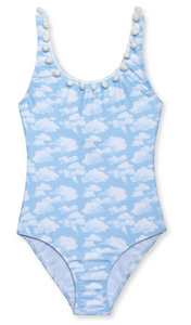 Stella Cove Blue Skies Tank Swimsuit with Pom Poms