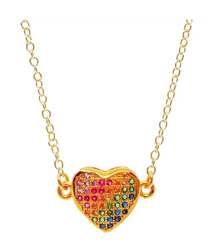 Bottleblond Pave Rainbow Heart Necklace