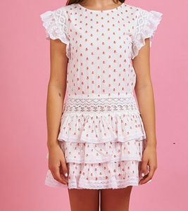 Place Nationale Le Broc Pink Blossom Tiered Mini Dress