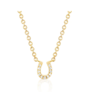 EF Collection Diamond Mini Yellow Gold Horeshoe Choker Necklace