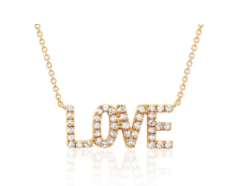 EF Collection Diamond Mini Love Yellow Gold Necklace
