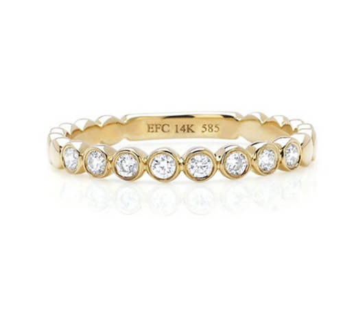 EF Collection YG Diamond Bezel Stack Ring Size