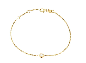 MAYA J Solitare Diamond Bezel 14k Rose Gold Bracelet