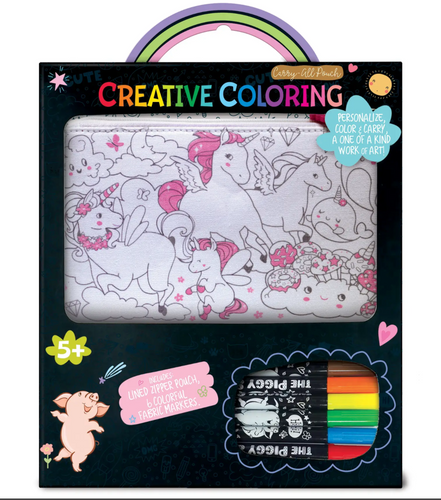 The Piggy Story Creative Coloring: Carry All Pouch- Unicorn Fantasy