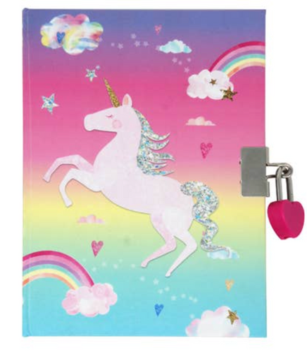 Pink Poppy Unicorn Scented Lockable Diary with Multicolor Unicorn Pen